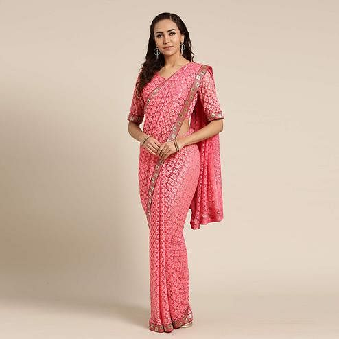 Gorgeous Light Pink Colored Partywear Net-Lycra Saree