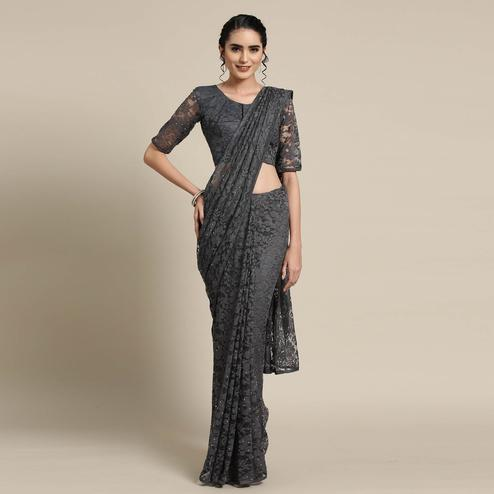 Radiant Gray Colored Partywear Netted Saree