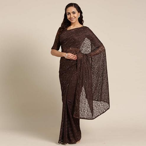 Opulent Brown Colored Partywear Netted Saree