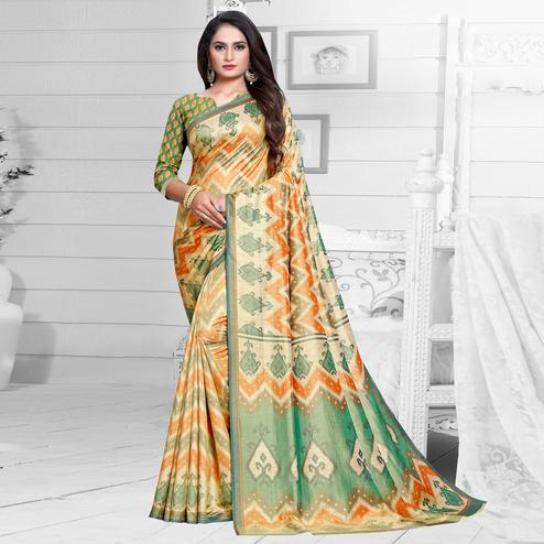 Energetic Orange-Green Colored Casual Printed Art Silk Saree