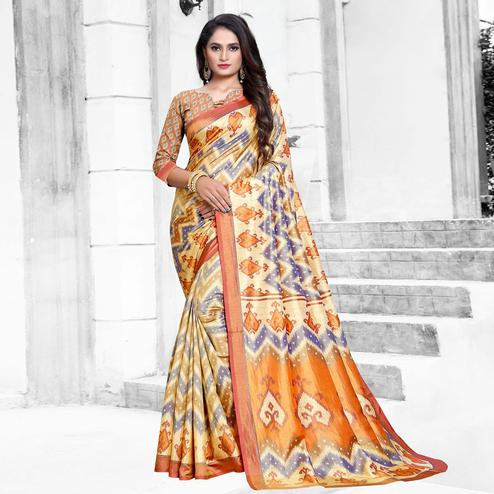 Glowing Purple-Brown Colored Casual Printed Art Silk Saree