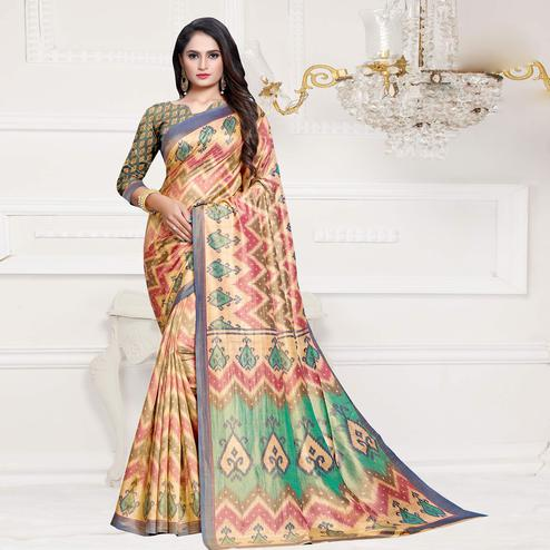 Exceptional Pink-Gray Colored Casual Printed Art Silk Saree