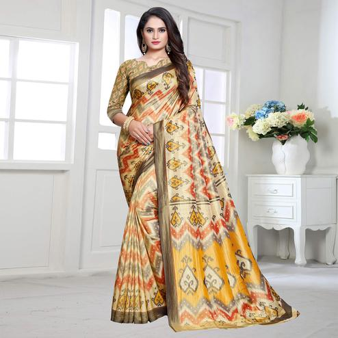 Gleaming Orange-Gray Colored Casual Printed Art Silk Saree