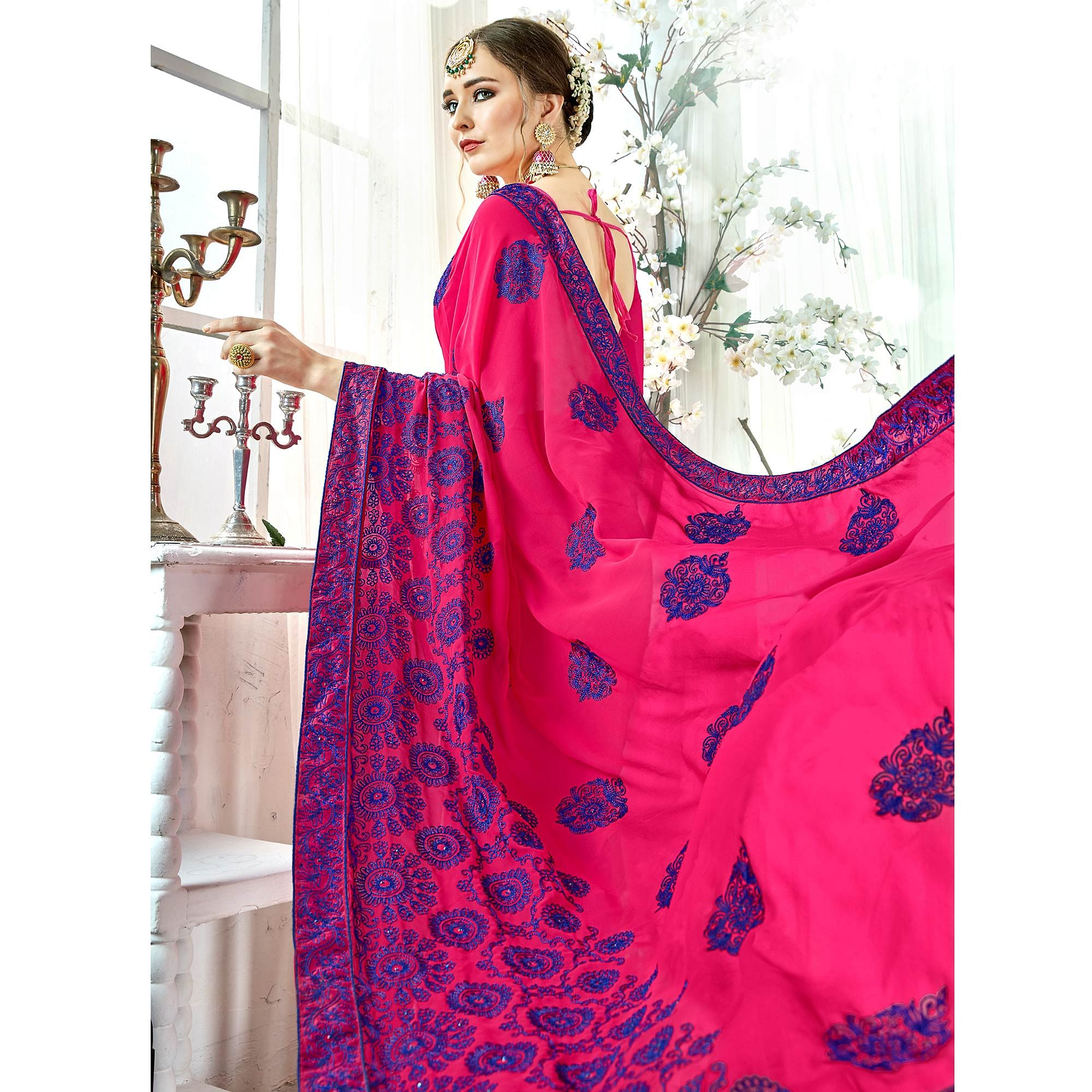 Flamboyant Pink Colored Partywear Embroidered Georgette Silk Saree