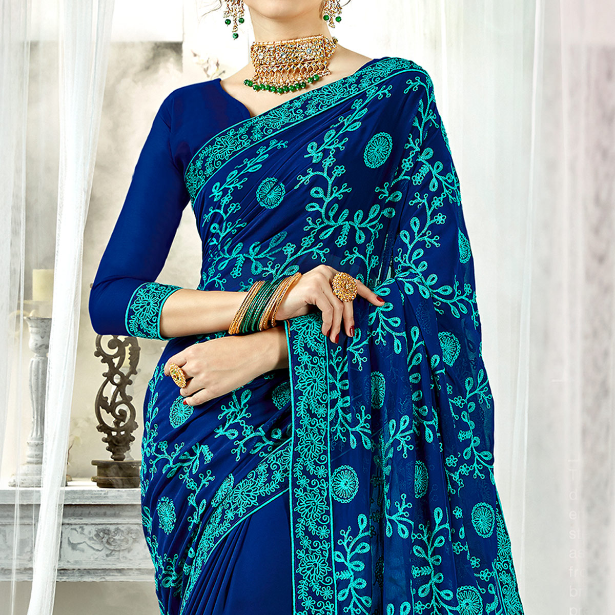 Pretty Navy Blue Colored Partywear Embroidered Georgette Silk Saree