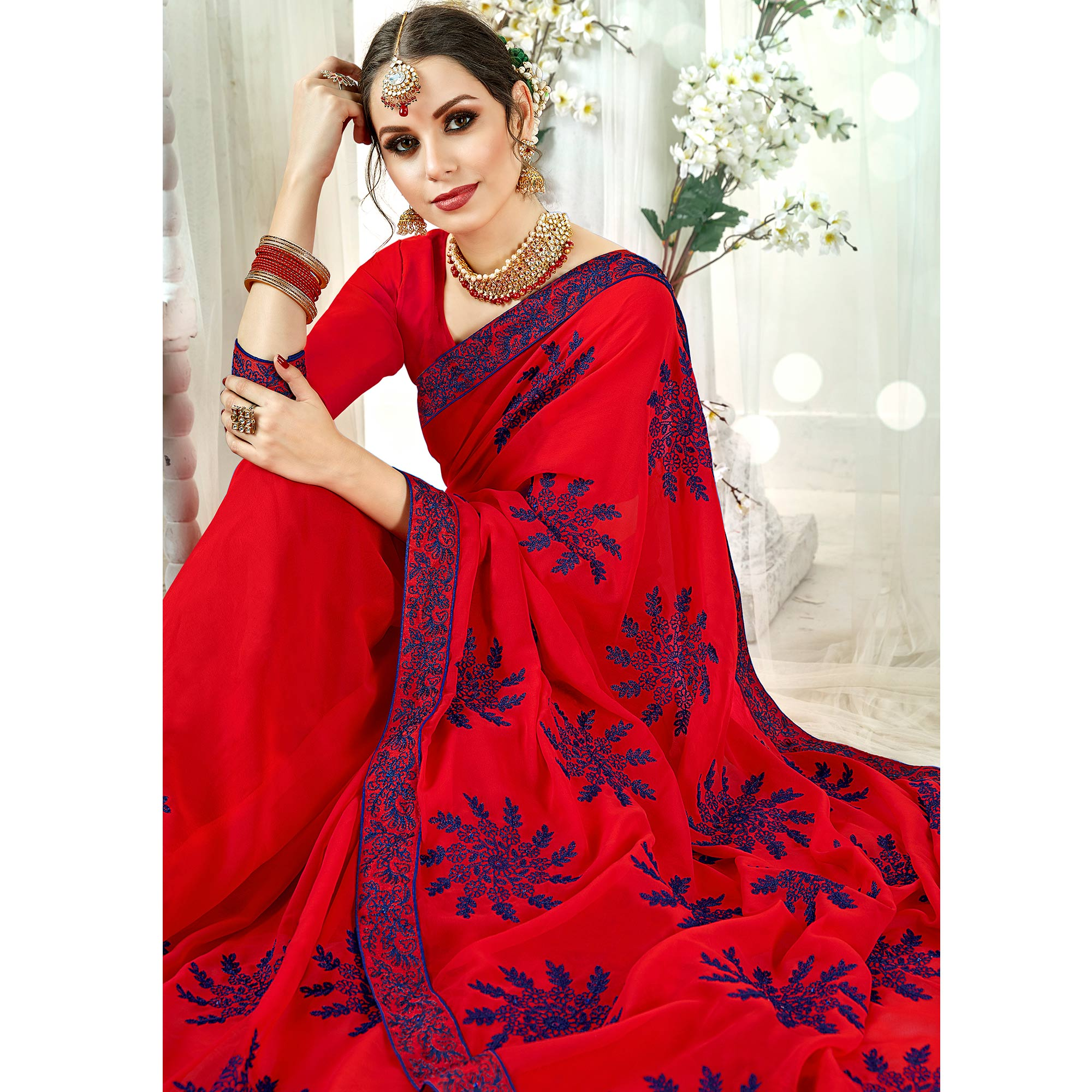Alluring Red Colored Partywear Embroidered Georgette Silk Saree