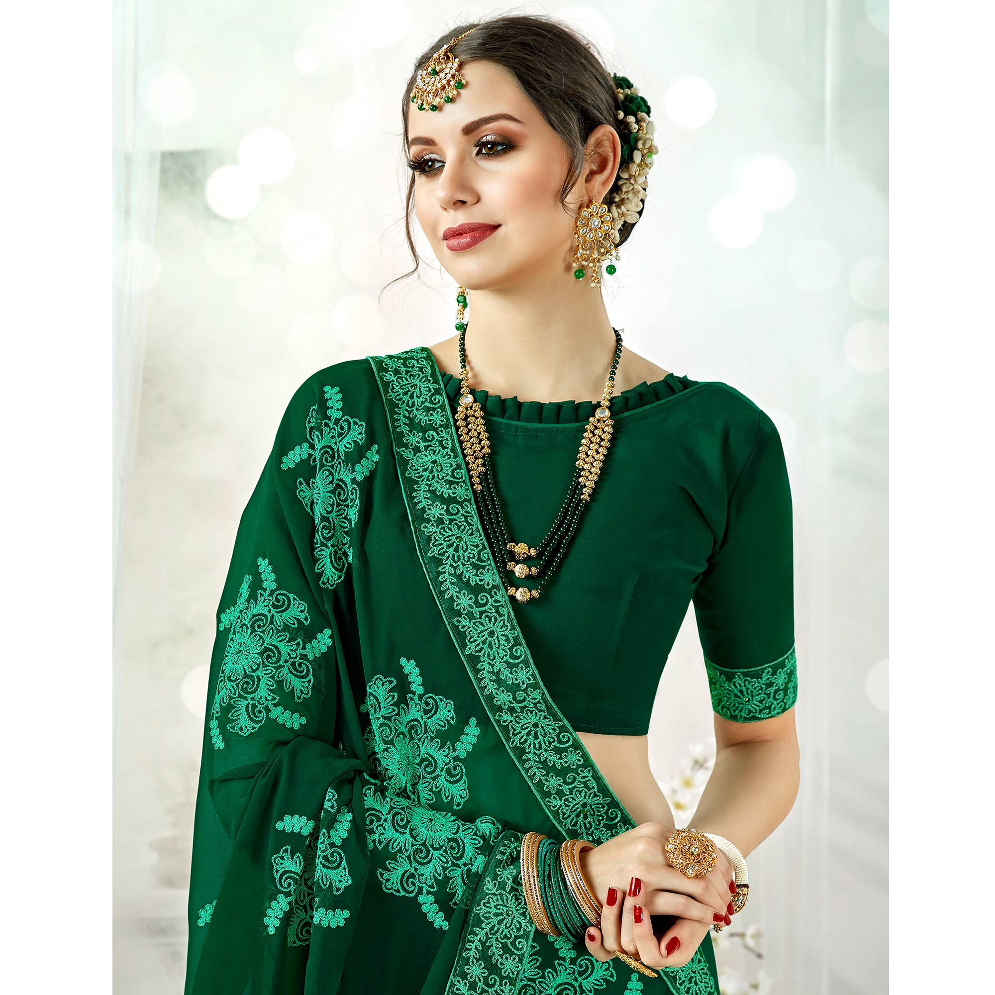 Sensational Green Colored Partywear Embroidered Georgette Silk Saree