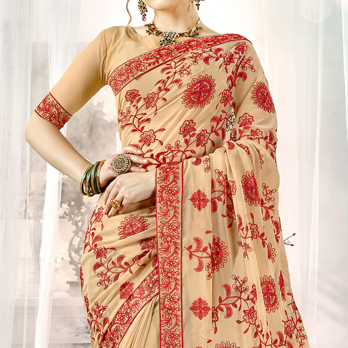 Flaunt Chiku Colored Partywear Embroidered Georgette Silk Saree