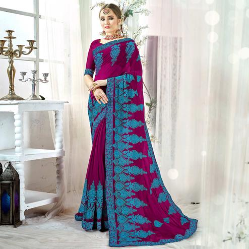 Stunning Magenta Pink Colored Partywear Embroidered Georgette Silk Saree