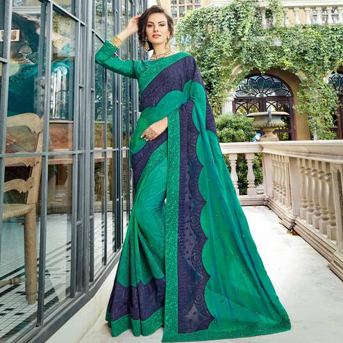 Pretty Turquoise Green Colored Partywear Embroidered Georgette Silk Saree