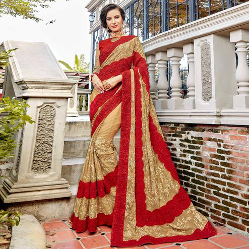 Charming Beige-Red Colored Partywear Embroidered Georgette Silk Saree