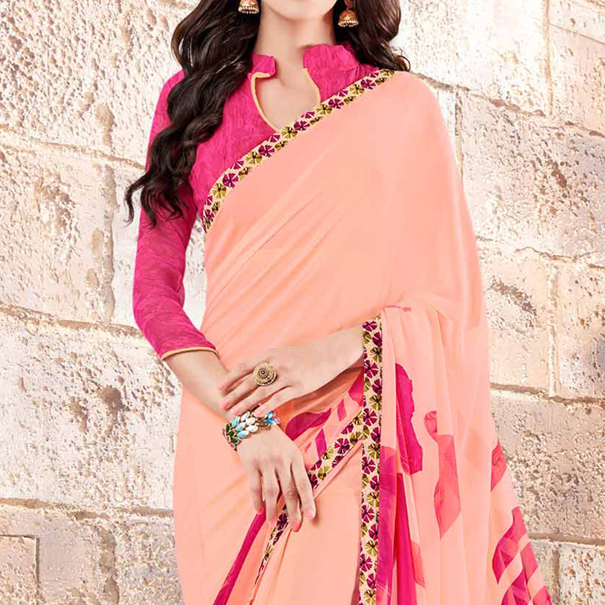 Peach Casual Wear Georgette Saree
