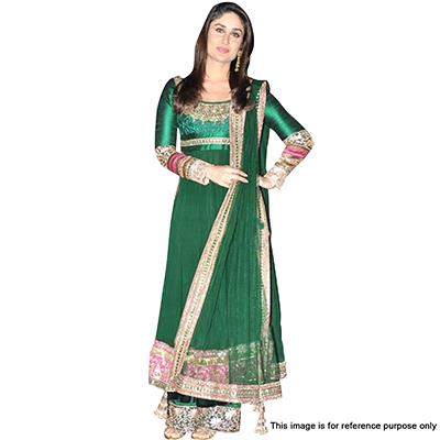 Green Heavy Embroidered Work Dress