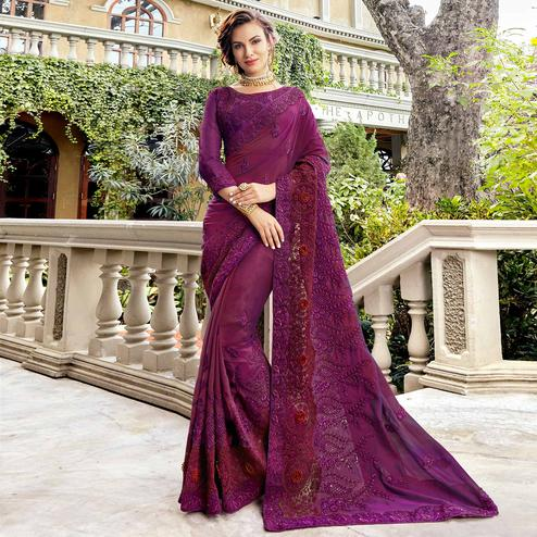 Ravishing Purple Colored Partywear Embroidered Georgette Silk Saree