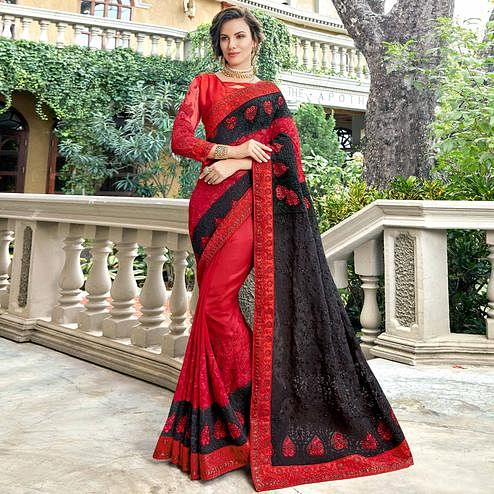 Stunning Red-Black Colored Partywear Embroidered Georgette Silk Saree