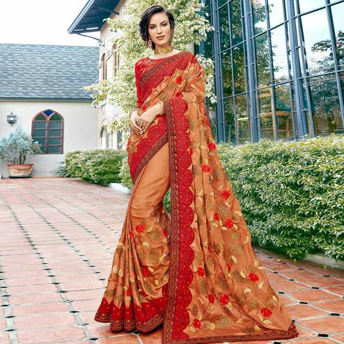 Marvellous Brown-Red Colored Partywear Embroidered Georgette Silk Saree
