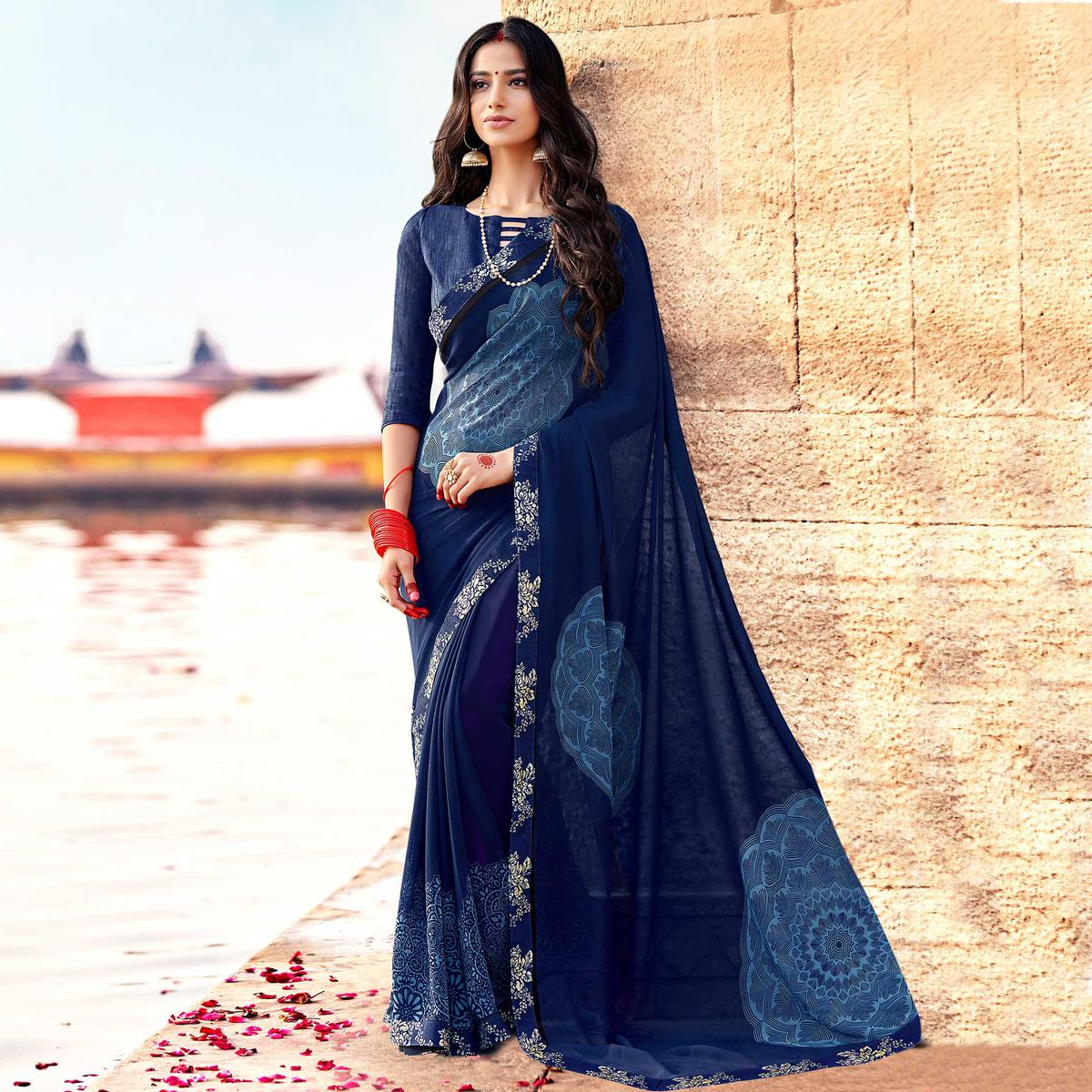 Engrossing Navy Blue Colored Casual Printed Georgette Silk Saree