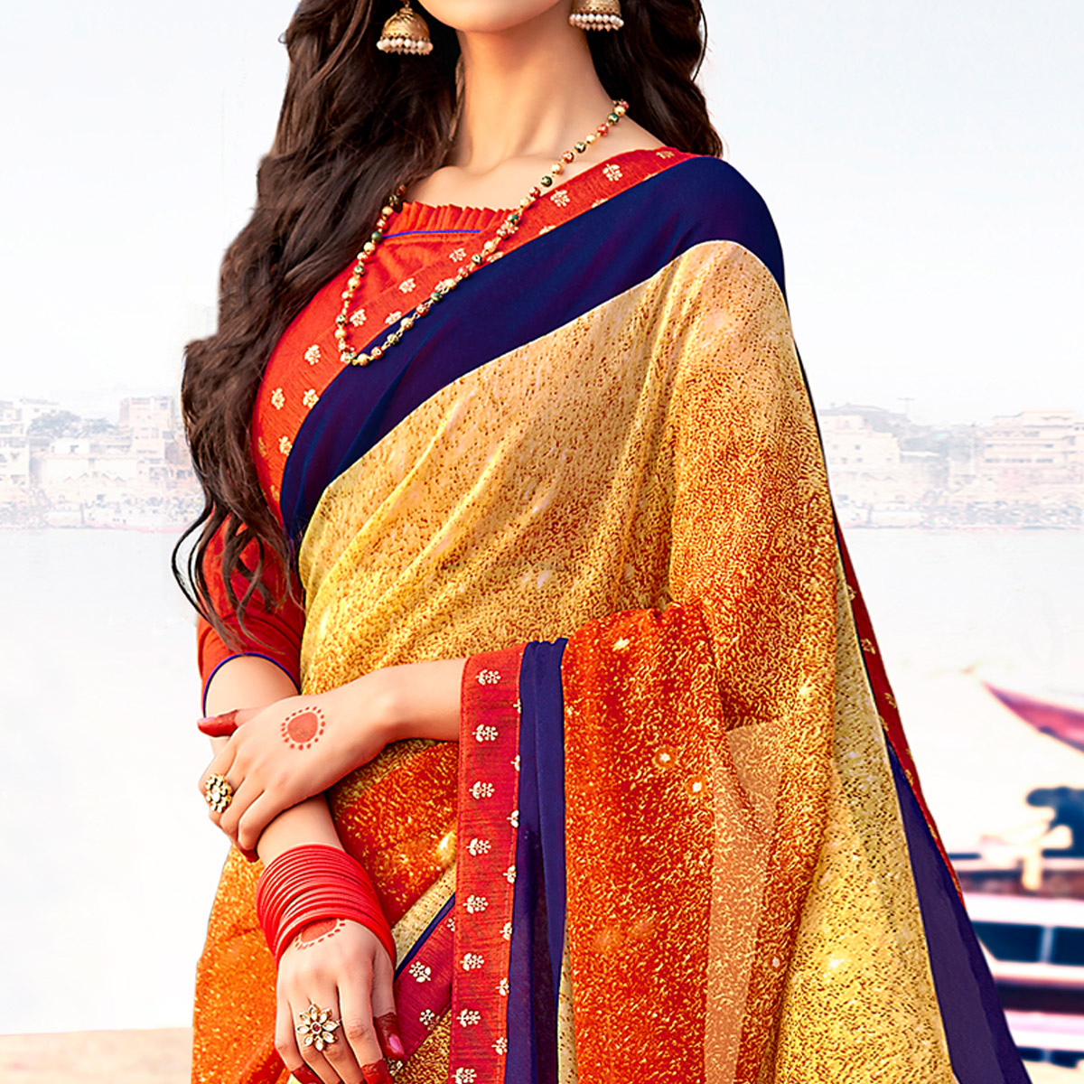 Captivating Yellow-Red Colored Casual Printed Georgette Silk Saree