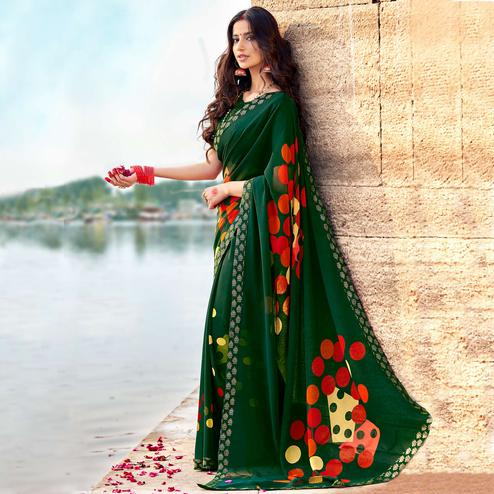 Innovative Dark Green Colored Casual Printed Georgette Silk Saree