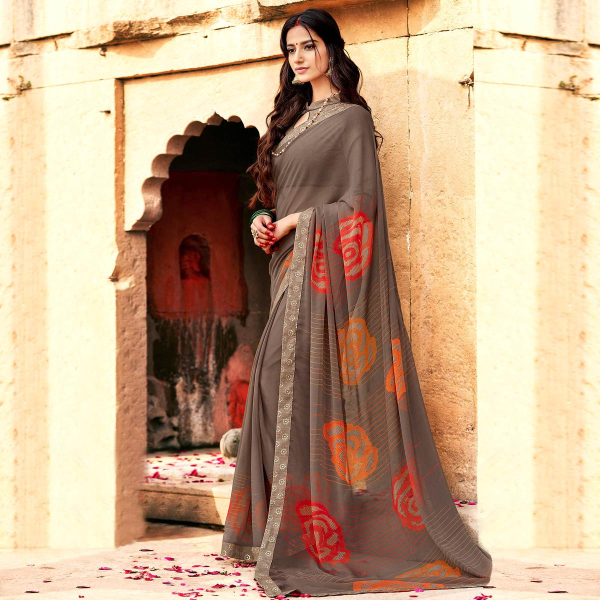 Eye-catching Gray Colored Casual Printed Georgette Silk Saree