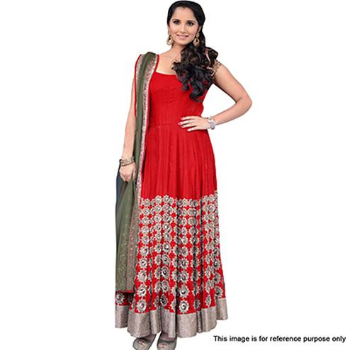 Red Party Wear Embroidered Work Suit
