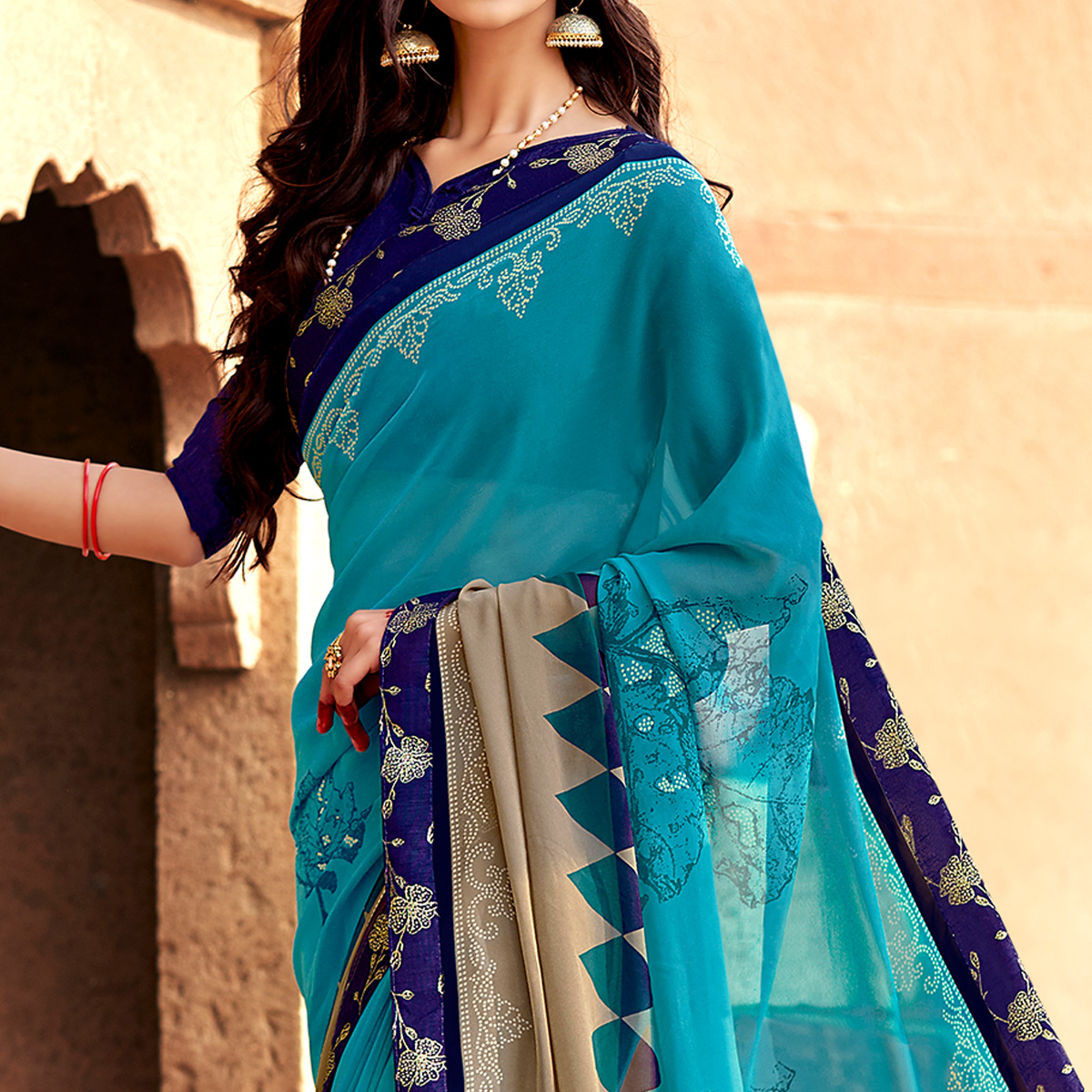 Amazing Sky Blue Colored Casual Printed Georgette Silk Saree