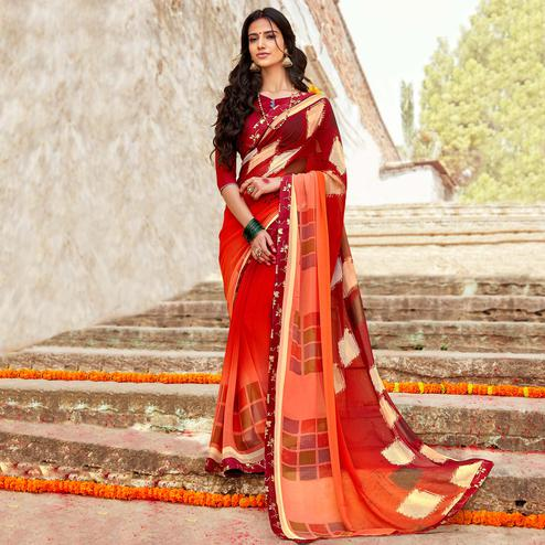 Gorgeous Orange-Maroon Colored Casual Printed Georgette Silk Saree