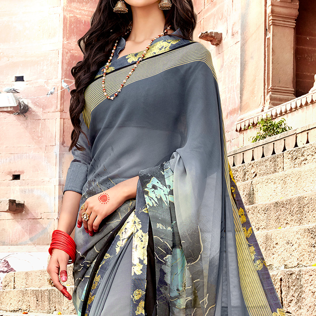 Blissful Gray Colored Casual Printed Georgette Silk Saree