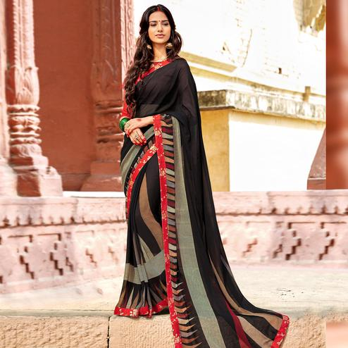 Impressive Black Colored Casual Printed Georgette Silk Saree