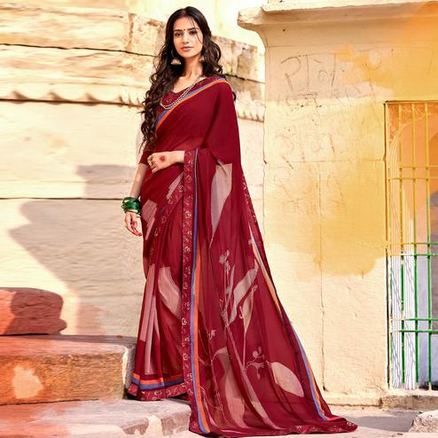 Imposing Maroon Colored Casual Printed Georgette Silk Saree