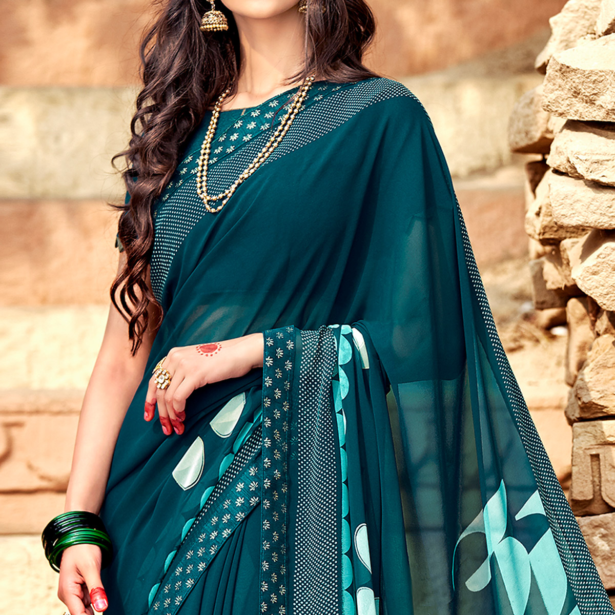 Mesmerising Teal Blue Colored Casual Printed Georgette Silk Saree