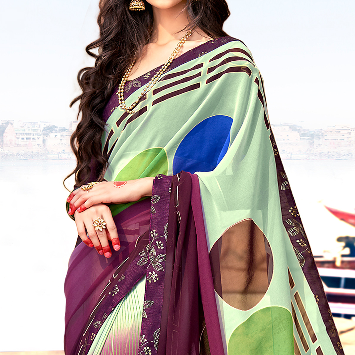Majesty Purple-Multi Colored Casual Printed Georgette Silk Saree