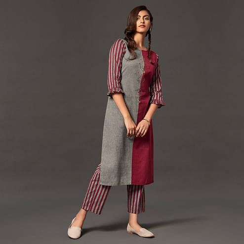 Majesty Grey-Maroon Colored Casual Wear Cotton Kurti With Bottom