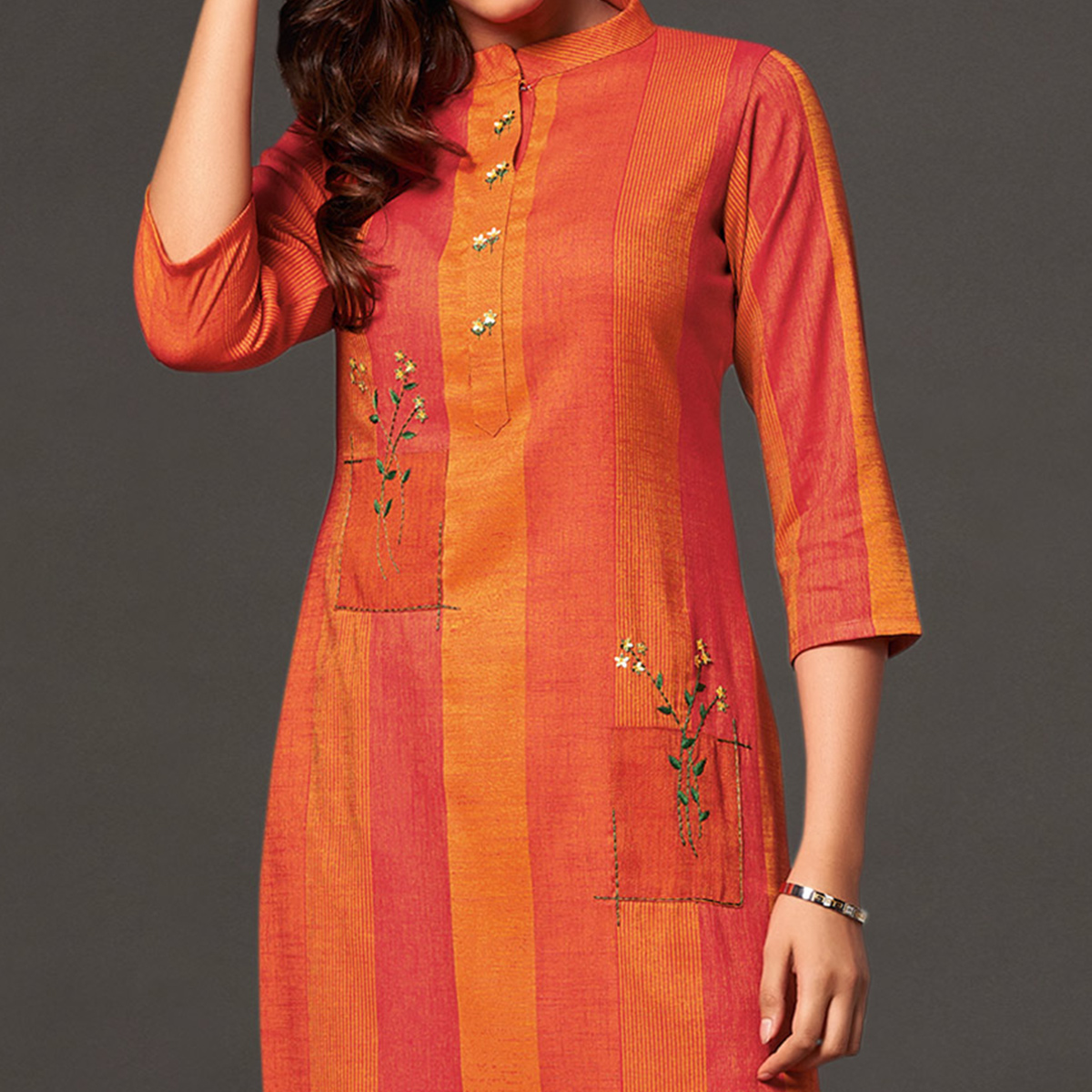 Mesmerising Orange Colored Casual Wear Cotton Kurti With Bottom