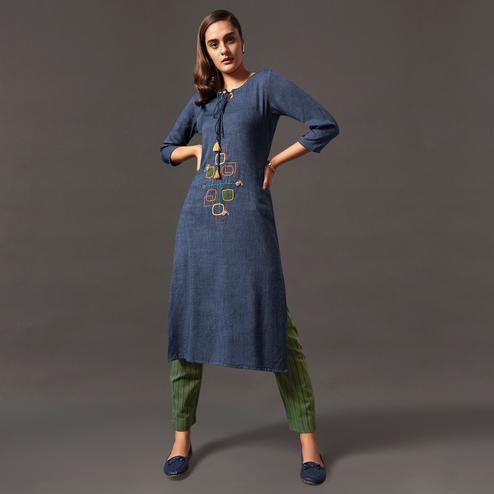 Pleasance Blue Colored Casual Wear Cotton Kurti With Bottom