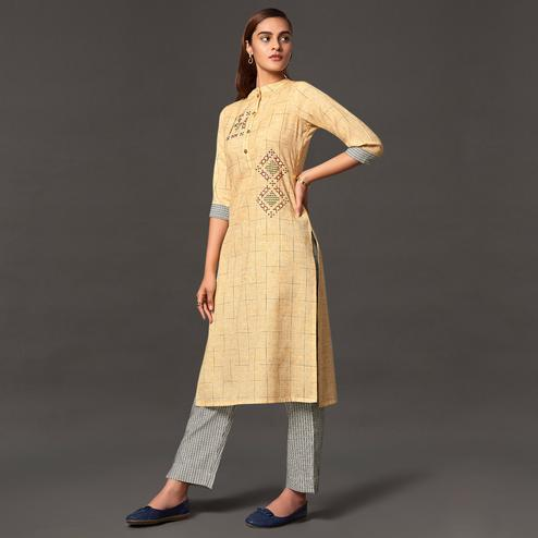 Staring Beige Colored Casual Wear Cotton Kurti With Bottom
