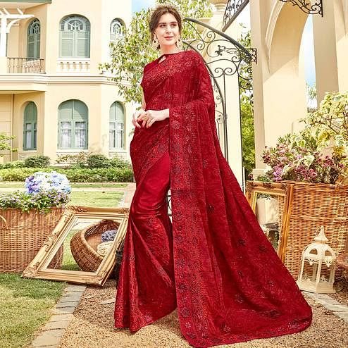 Captivating Red Colored Partywear Embroidered Georgette Silk Saree