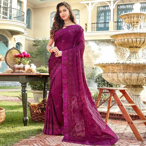 Innovative Purple Colored Partywear Embroidered Georgette Silk Saree
