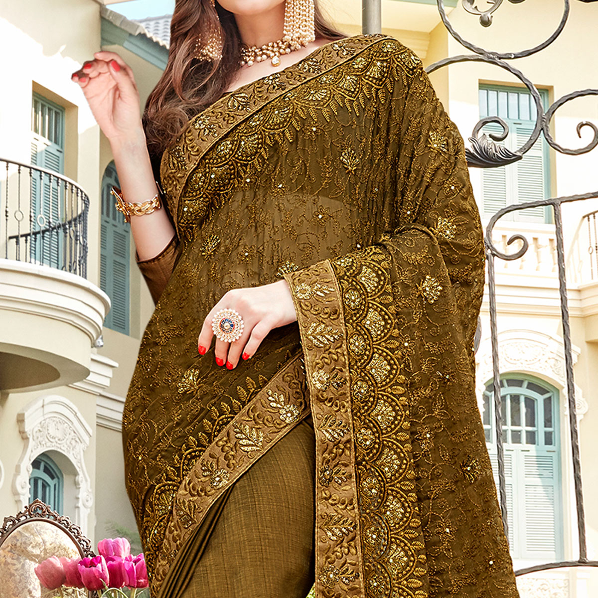 Eye-catching Mehendi Green Colored Partywear Embroidered Georgette Silk Saree