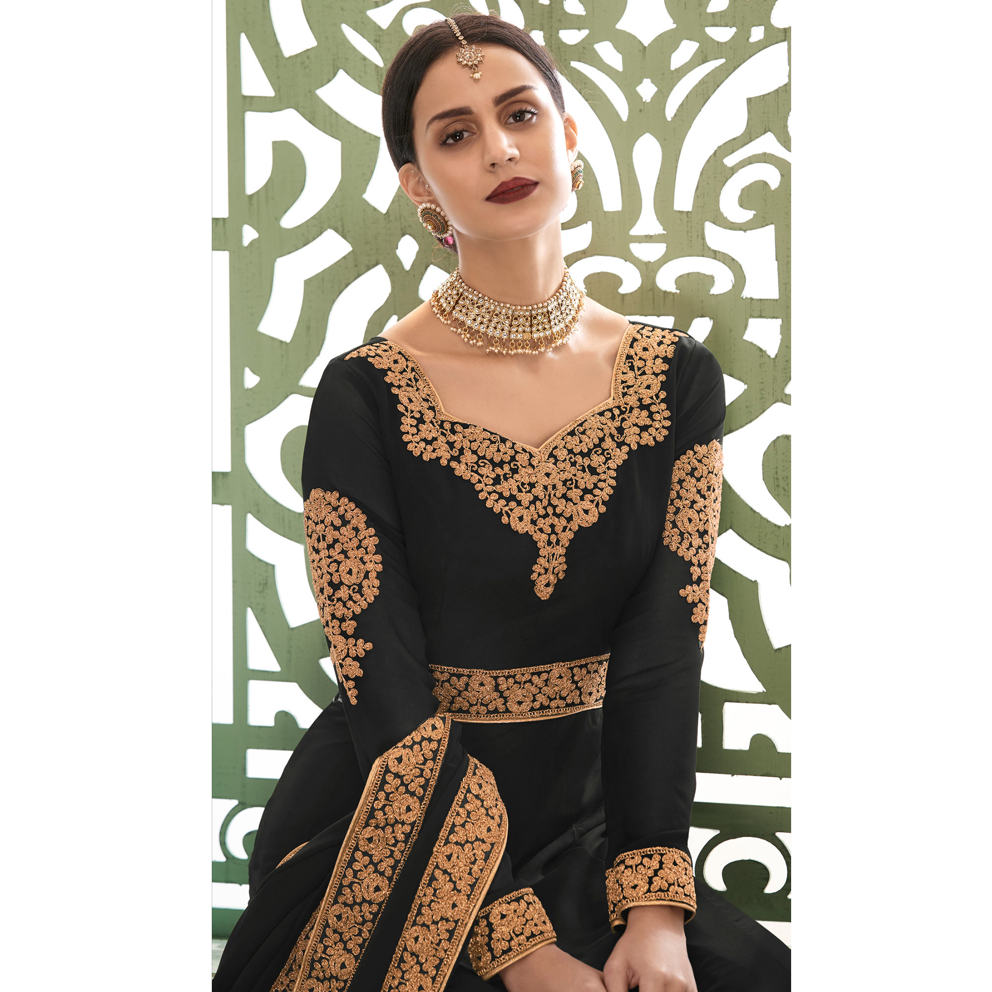 Adorable Black Colored Partywear Embroidered Georgette Anarkali Suit