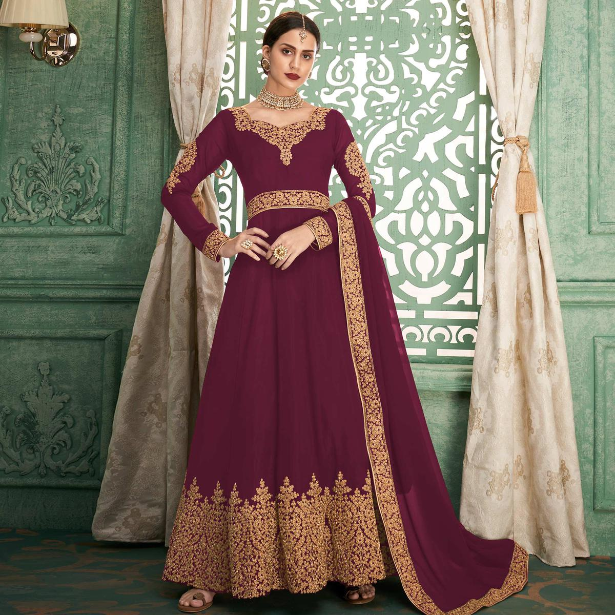 Glorious Wine Colored Partywear Embroidered Georgette Anarkali Suit