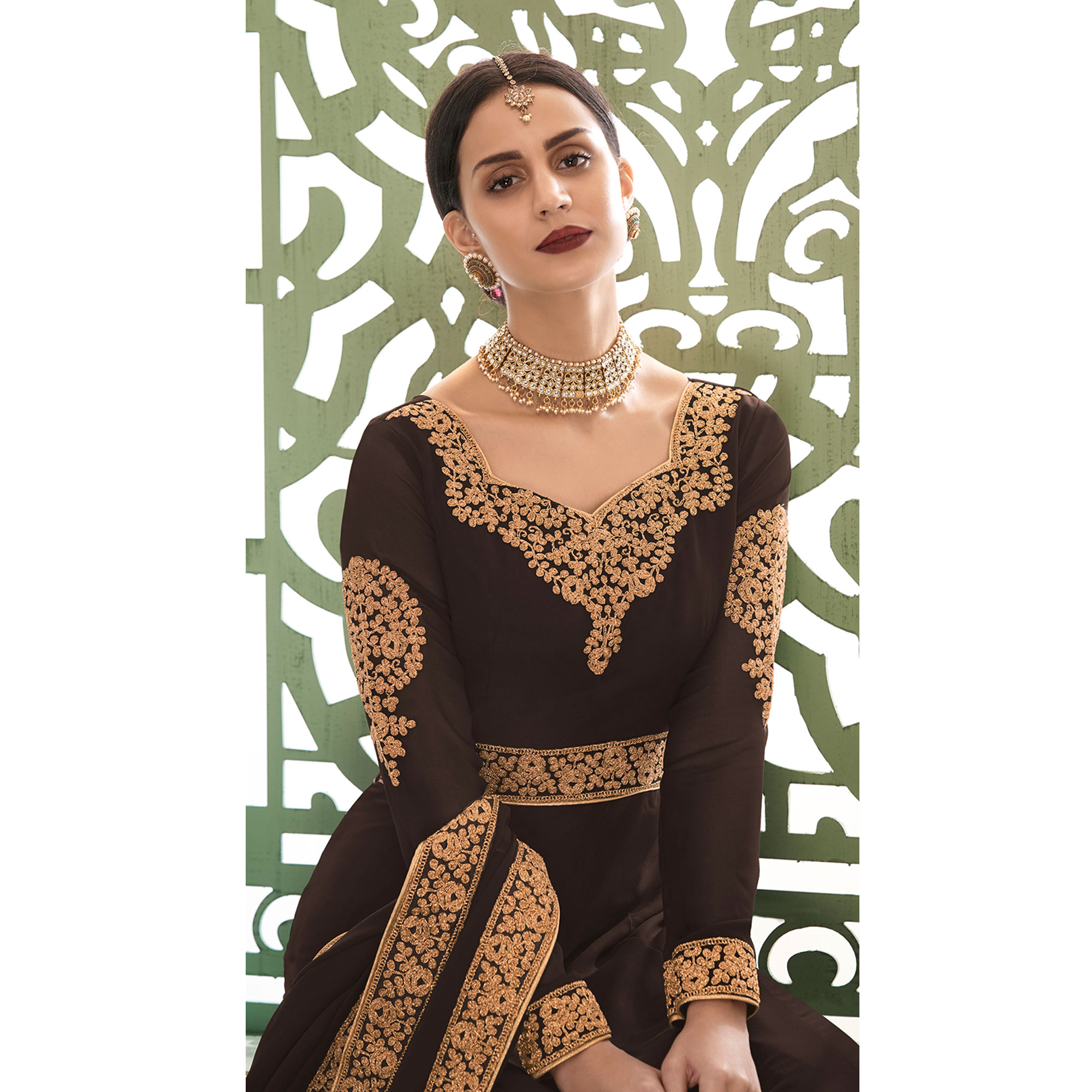 Attractive Dark Brown Colored Partywear Embroidered Georgette Anarkali Suit