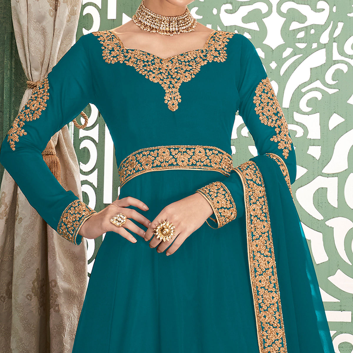Engrossing Rama Blue Colored Partywear Embroidered Georgette Anarkali Suit