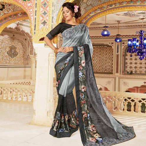 Adorning Grey Colored Partywear Embroidered Georgette Silk Saree
