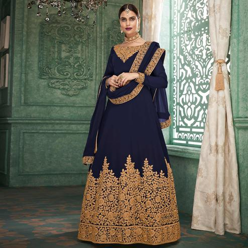 Charming Navy Blue Colored Partywear Embroidered Georgette Anarkali Suit