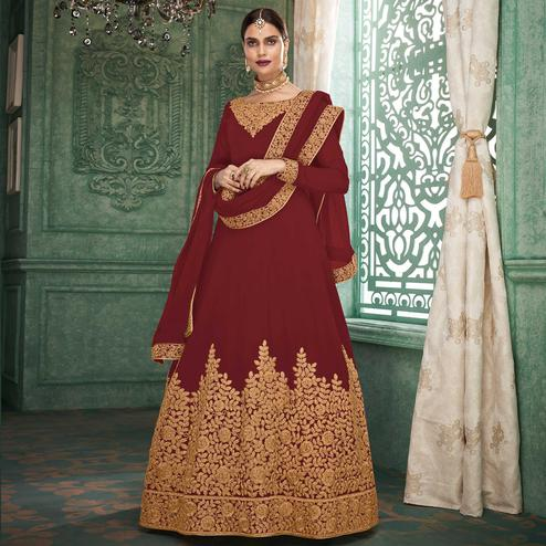 Captivating Maroon Colored Partywear Embroidered Georgette Anarkali Suit