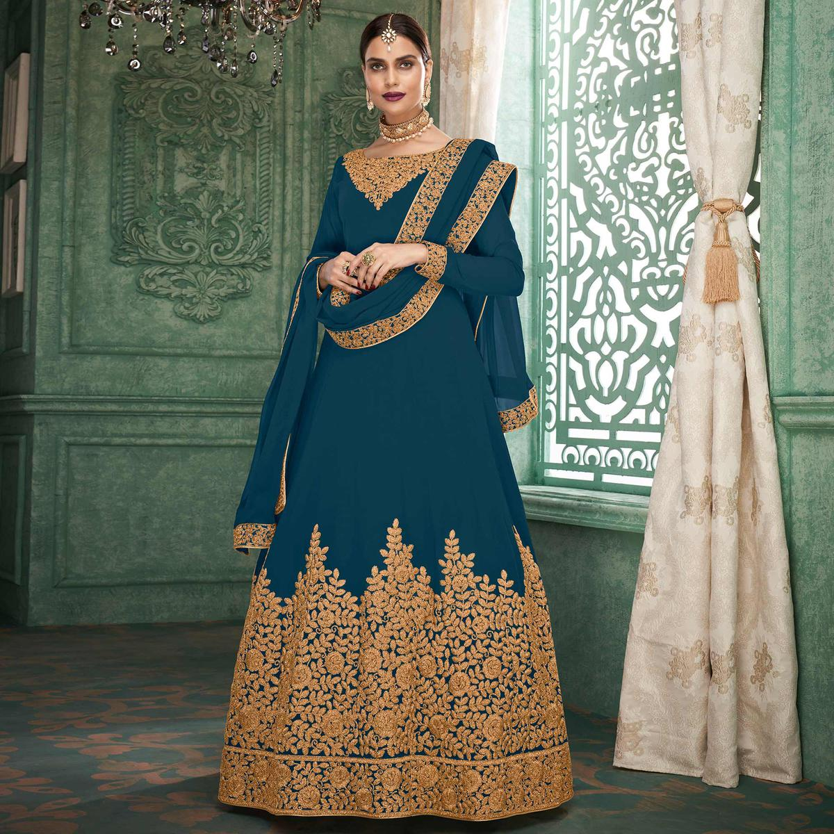 Delightful Blue Colored Partywear Embroidered Georgette Anarkali Suit
