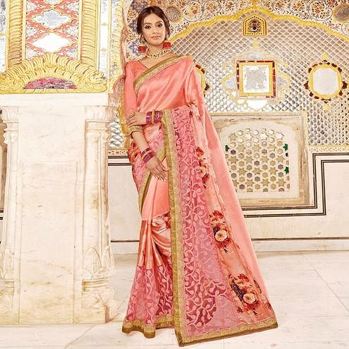 Appealing Peach Colored Partywear Embroidered Georgette Silk Saree