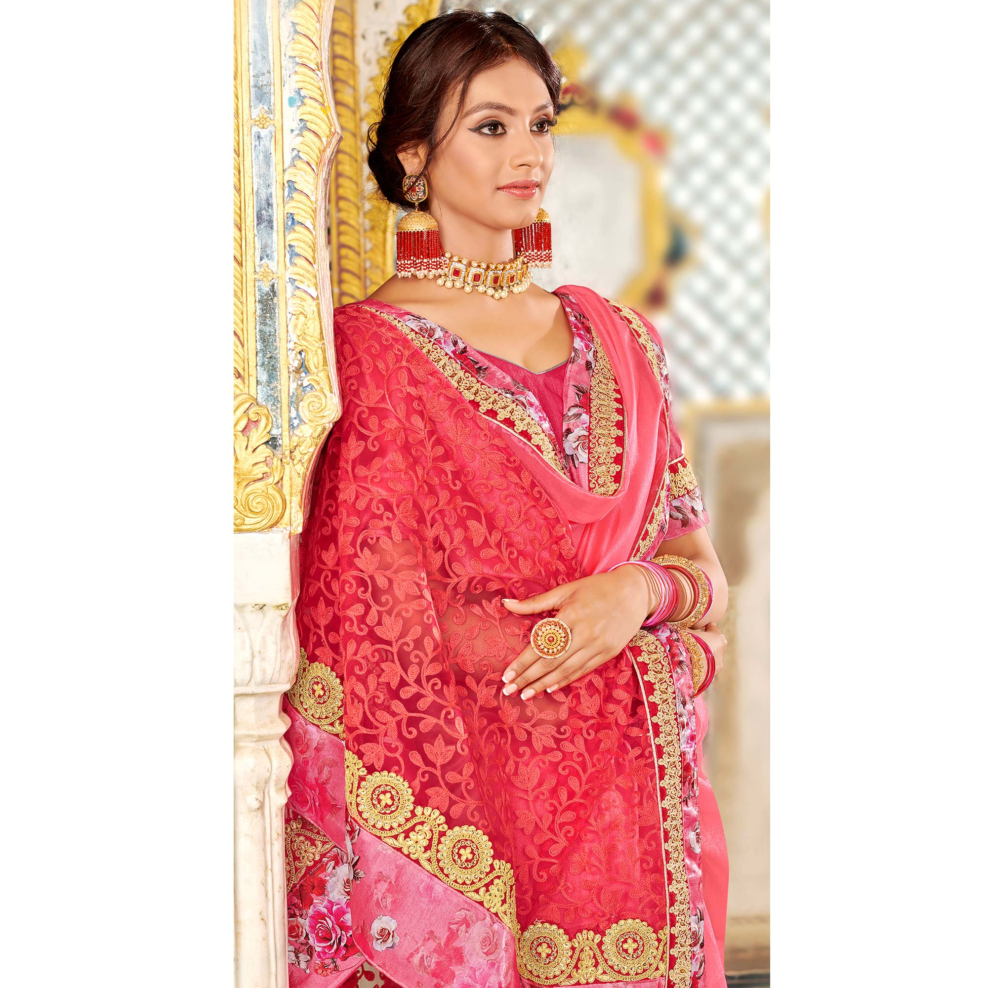 Groovy Pink Colored Partywear Embroidered Georgette Silk Saree