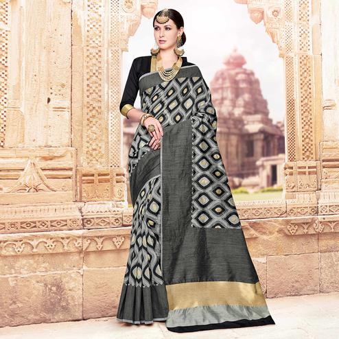 Magnetic Gray Colored Festive Wear Woven Banarasi Silk Saree